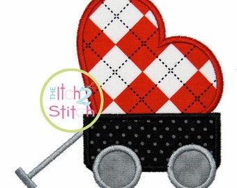 """Heart Wagon Applique Design For Machine Embroidery, shown with our """"Hambone"""" font NOT Included INSTANT DOWNLOAD now available"""