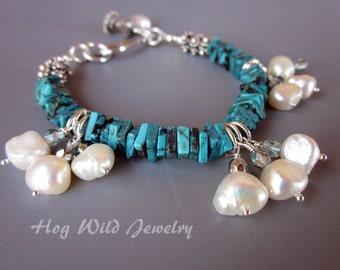 Turquoise Pearl Charms Silver Bracelet, Women's Turquoise Bracelet, Pearl Charm Bracelets, Women's Unusual Bracelets
