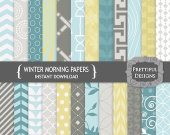 Digital Paper Teal Mustard Gray - CU Ok - Winter Morning