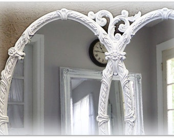 Huge Vintage Triple Mirror, Room size Mirror, White Baroque Mirror