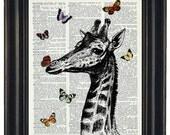 BOGO SALE Wall Decor Giraffe Dictionary Art Print Giraffe and Butterflies Print HHP Original Concept and Design