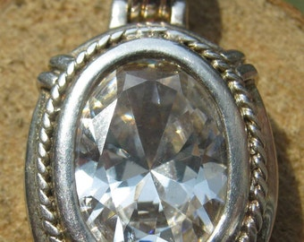 Vintage Sterling Silver Ladies Pendant with Large Cubic Zironium Stone Classic Design