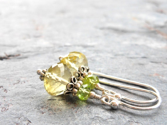 Gemstone Earrings, Lemon Quartz Drop Earrings with Peridot, Sterling Silver, Lemon Lime