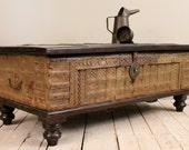 Moss Green Reclaimed Salvaged Antique Indian Wedding Trunk Coffee Table Storage Chest - hammerandhandimports