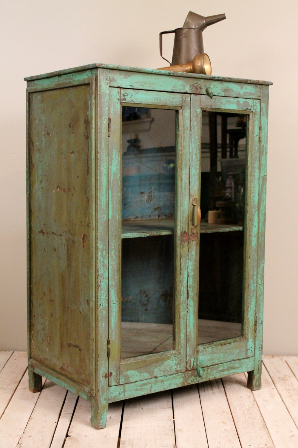 Antique Rustic Chic Bright Green Indian Bar Storage Kitchen