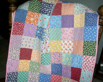 Baby Girl Cotton Quilt 1930s Reproduction Fabrics Vintage Look