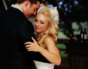Champagne Wedding Hair Clip, Wedding Head Piece, Wedding Hair Fascinator, Speakeasy, Wedding Veil Set, Great Gatsby, Champagne