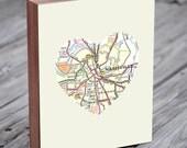 Nashville Tennessee Art City State Heart Map - Wood Block Art Print