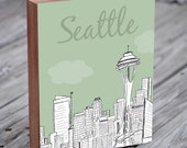 Seattle Skyline - Seattle Illustration Art-  Wood Block Wall Art Print - City Art - Seattle Art