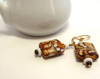 Cappuccino Art Glass Beaded Earrings