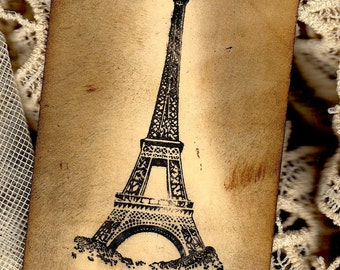Four Handmade, Altered Art,  Paris Tags, Eiffel Tower, Topiary Tag, Crown Tags, Shipping Tag Art