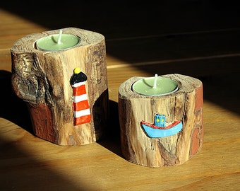 Log Candle Holders With Terracotta Embellishments