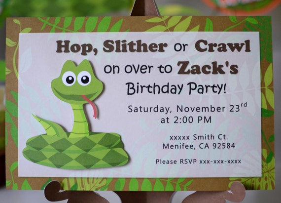 Reptile Birthday Party Invitations Snake Invitation Frog Lizard