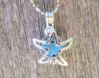 Sea Glass  Starfish  Locket Necklace by Wave of Life