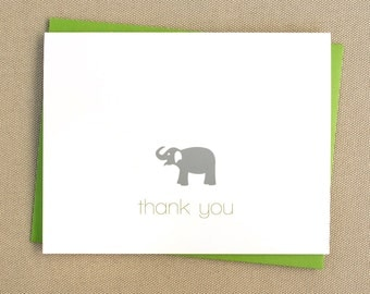 Elephant Baby Shower Thank You Cards / Folded Customized Baby Thank You Note Cards with Elephant