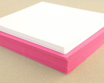 Blank Stationery Set with Hot Pink Envelopes / Set of 20 Flat A2 Size Cards with Fuchsia Envelopes