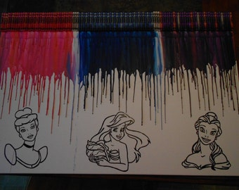 Princess Inspired Melted Crayon Painting