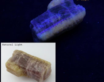 Glow TOURMALINE. Release Your InneR Nerd at Roller Disco. Natural. Rough Crystal. Glows Under LW Uv Light  1pc. 42 Grams 44x27x20 mm (Tm700