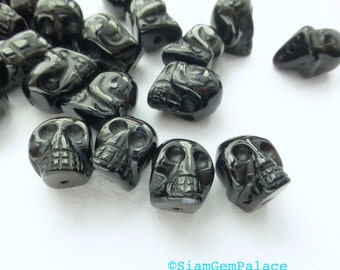 BLaCK ONYX SkuLL Beads. PunK RoCk. Momento Mori Deaths Face. Carved Mini Skeleton Head 1 pc. 6 cts. 11x9 mm (Ox180-1)