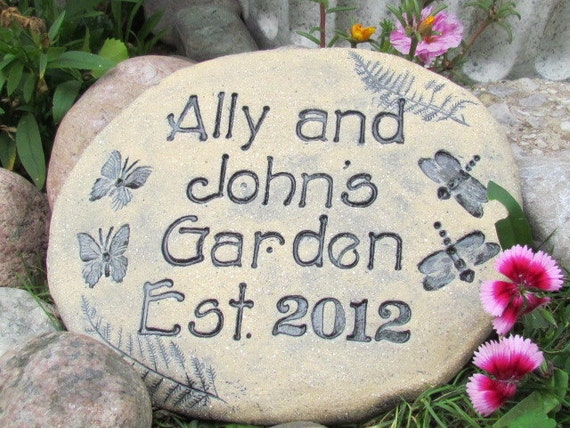 personalized garden stone sign natural nature inspired gift