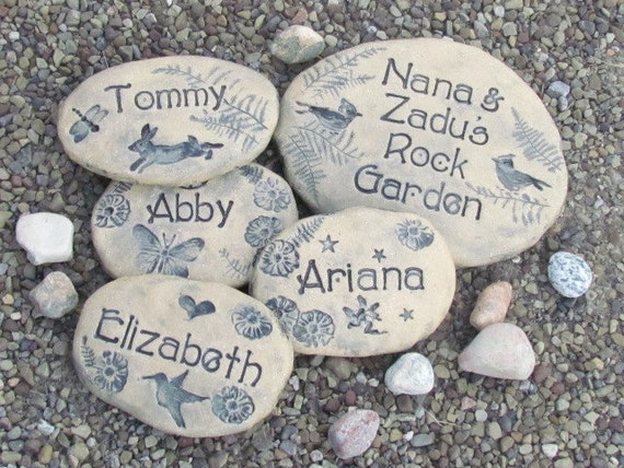 Landscaping Rocks Names : Rock garden stones unique grandparent gift family names choice of