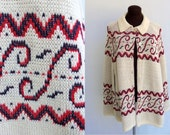 Vintage 70s Knit Cape Poncho Shawl in Cream with Red and Blue Design Acrylic Hippie Boho