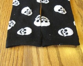 Baby/Toddler Leg Warmers - Black with White Skulls