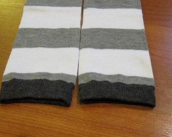 Gray and White Striped Leg Warmers