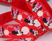"Red Minnie Mouse Bubble  Printed Grosgrain Ribbon /1""(25 mm) width /DIY Hair Bow / Head band /Kids Craft Supplies"