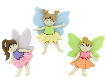 Flower Fairies Plastic Buttons / Sewing supplies / DIY craft supplies / Novelty Buttons / Party Supplies / Kids craft supplies