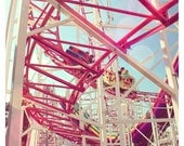 Pink Roller Coaster - carnival photography, bright, hot pink, nursery/home decor - Paris, France - 8x8, 12x12 Original Fine Art Photograph