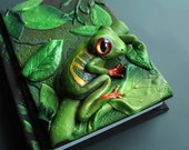 DISPLAY ITEM - frog Journal- secret diary- sketchbook- polymer clay - fantasy steampunk gothic lolita blank OOAK