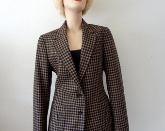 1980s Wool Blazer / check tweed jacket / black & tan / vintage preppy fall and winter fashion