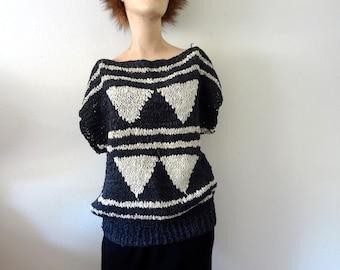 1980s Leather Knit Top / bateau neck geometric crochet sweater / vintage fashion