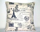 Black and White Script French Linen 18 inch Decorative Cotton Pillow Covers