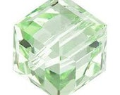CLEARANCE 10 Swarovski Chrysolite Cube Beads 5601 8mm CRAZY LOW