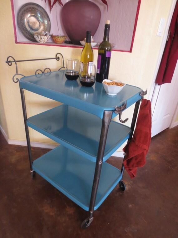 Vintage Turquoise Metal Serving Cart
