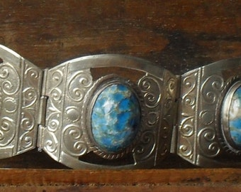 Gorgeous  Vintage ----Mexican sterling ---Copper Blue ARIZONA TURQUOISE Stones Hallmarked
