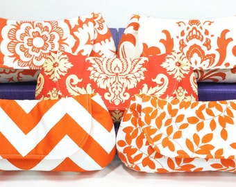 Orange Bridesmaids Clutches Choose Your Fabric Set of 5