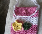 Crochet purse pink with flower Ready to Ship No43