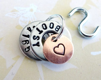 Small Dog Tag - Small Cat Tag - personalized ID Tag - Hand Stamped Washers and Copper Disc with phone number, name and heart