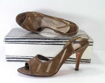amano stiletto peeptoe pumps womens 7.5 m b brown slingback leather suede 3.75 inch high heels u.s.a.