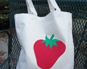 Custom Order for Melissa:  10 Strawberry Appliqued Eco-Friendly Totes