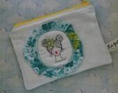Cute embroidered portrait zipper pouch