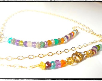 Multi Gemstone Beaded Rainbow  Line Necklace 14k Gold Filled Chain . Minimalist Beauty