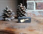 Miniature Guitar Carved Wood Sign - Handmade, Reclaimed Wood