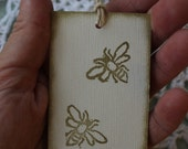Golden Honeybees - Bee Gift Tags Hand Stamped in Gold, Set of Ten from Original Hand Carved Stamp