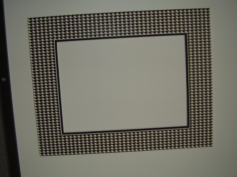 picture frame mat houndstooth check black and white custom. Black Bedroom Furniture Sets. Home Design Ideas