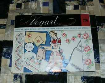 Vintage 1940s Vogart Floral Transfer Design Pattern 200 for His and Her Linens, Uncut