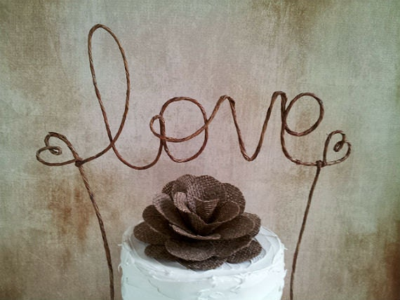 Items Similar To Rustic LOVE Wedding Cake Topper Banner